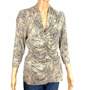 Ann Taylor Ruched Paisley Print Browns Top Large